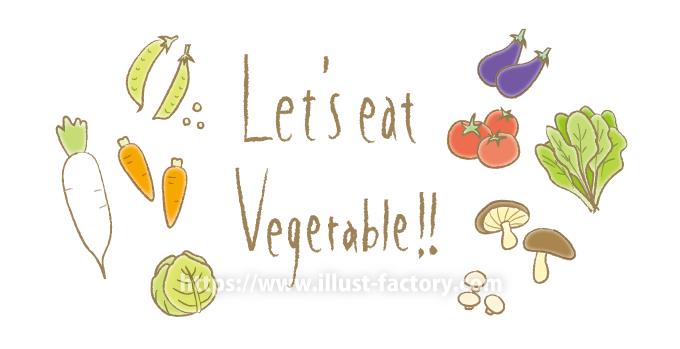 A171-01 手描きタイトルと野菜イラスト 大根・トマト