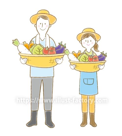 A171-02 農家のイラスト 野菜が豊作