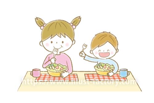 A171-03 サラダを食べる子供イラスト