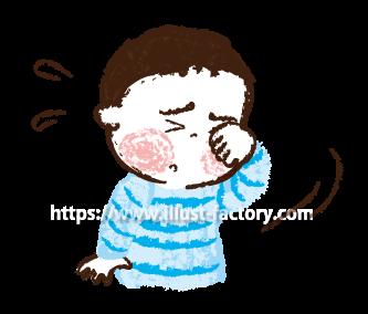 A173-02 目をこする子供 花粉症イラスト