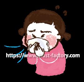A173-05 花粉症イラスト くしゃみ・鼻水が出る