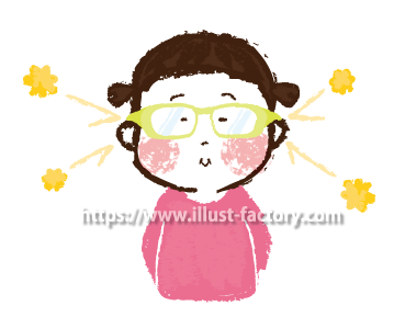 A173-06 花粉症対策メガネのイラスト