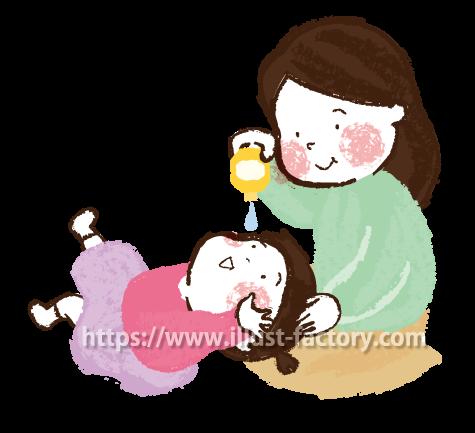 A173-07 お母さんと子供 目薬を刺すイラスト