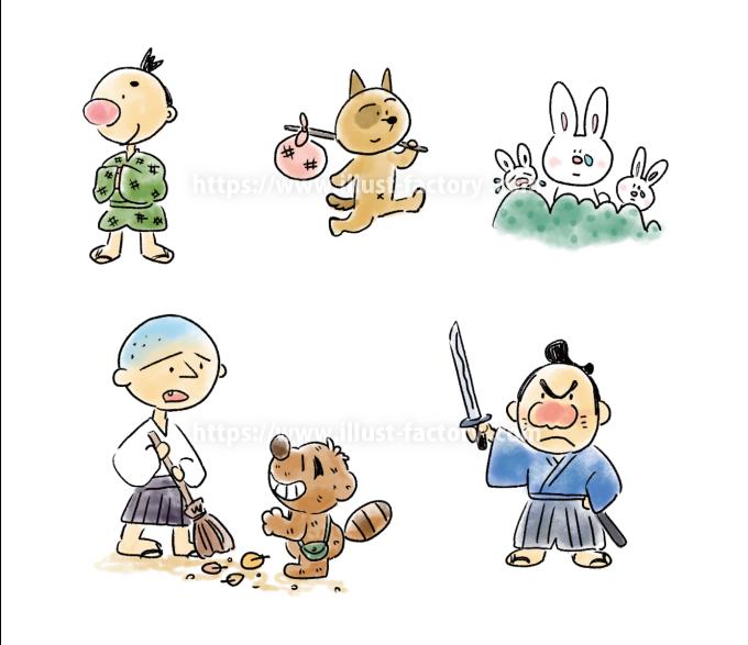 A175 昔話風のイラスト 小僧さん・侍・タヌキ