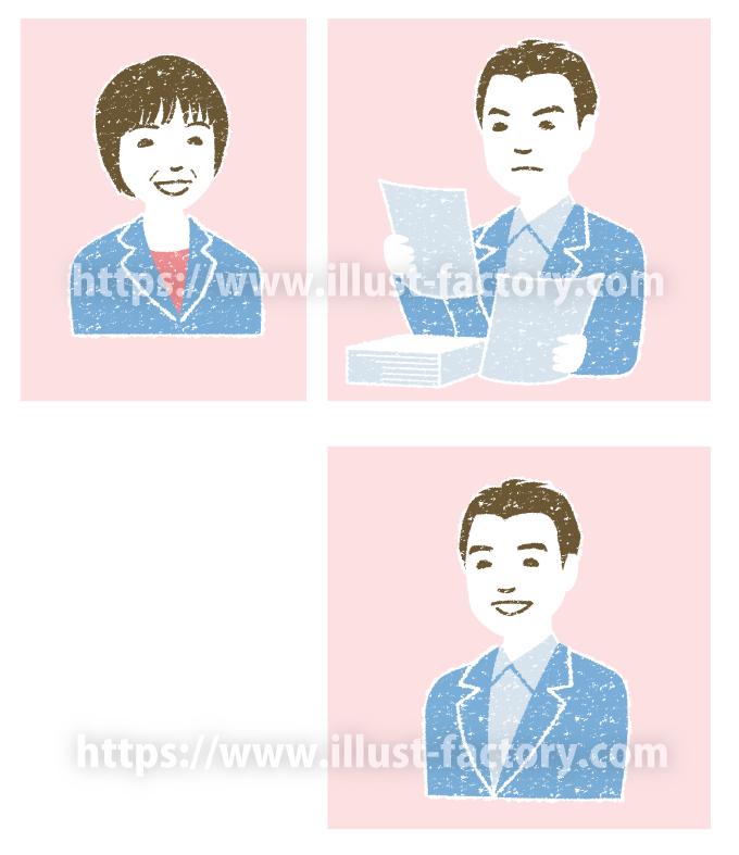 A207-01 手描きの風合い人物のイラスト制作