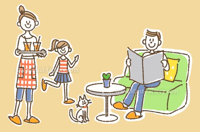 A208-02 家族のイラスト 家族団らん・猫