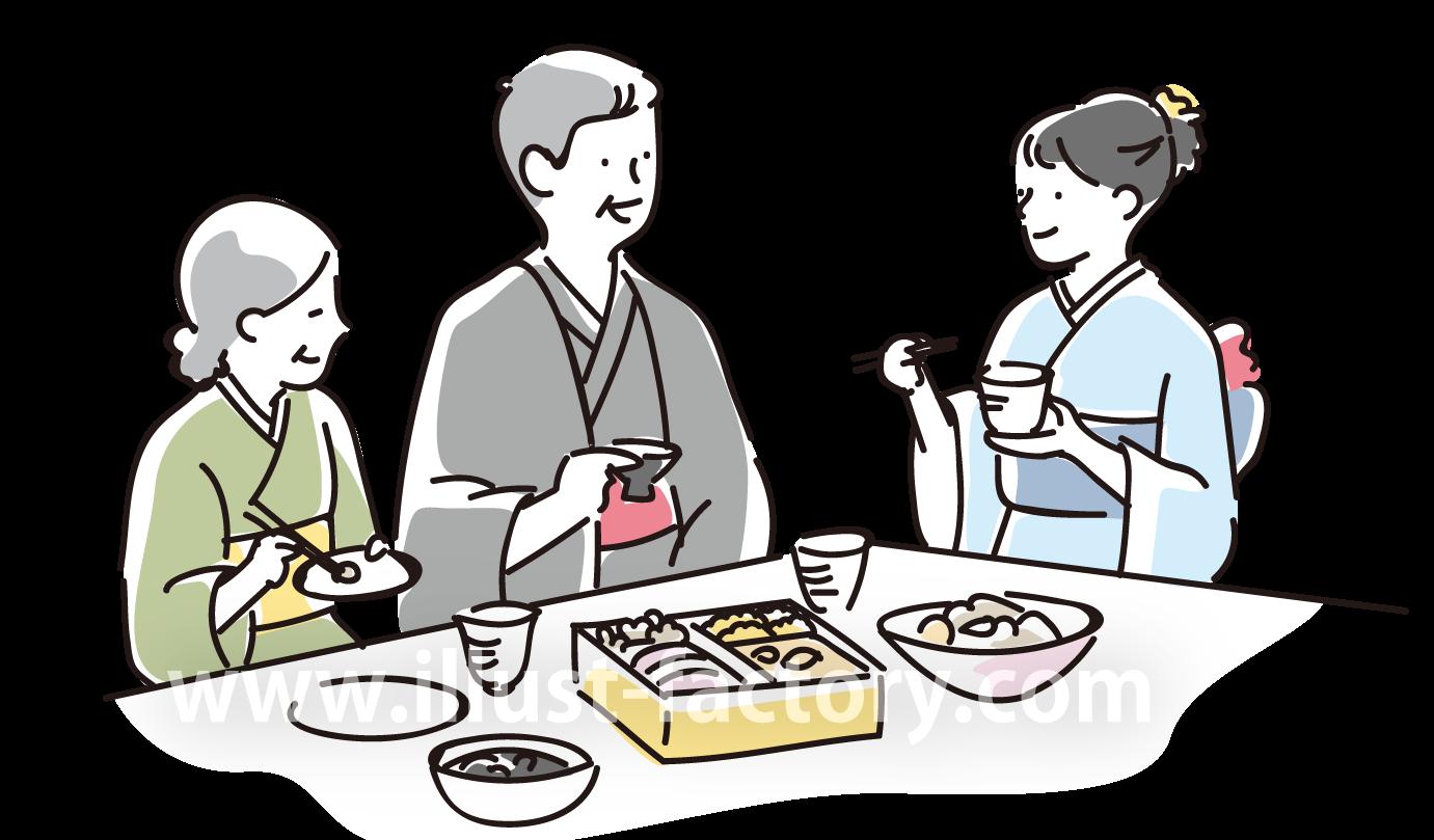 A209-01 お正月イラスト 和服で賑やかにおせち料理