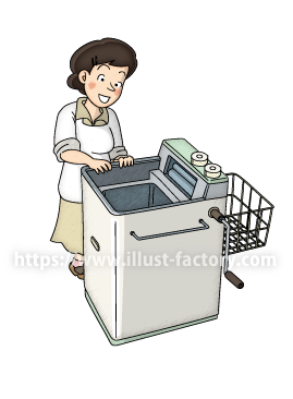A220-02 昭和レトロのイラスト制作 ~洗濯機~