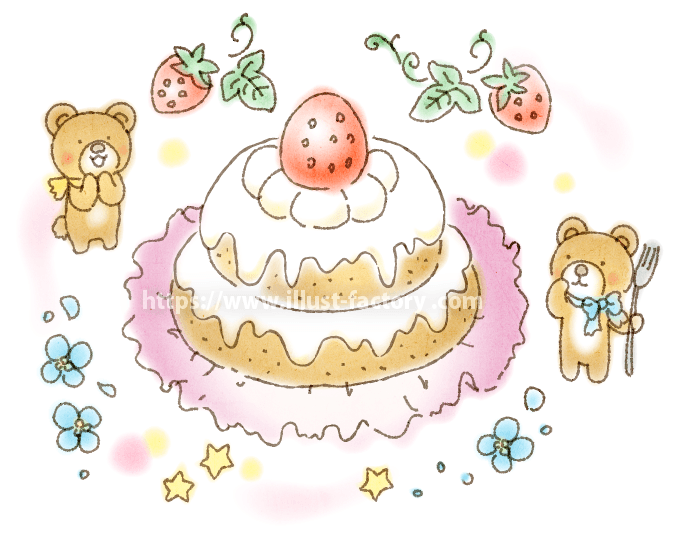 A224-01 いちごケーキとくまのイラスト