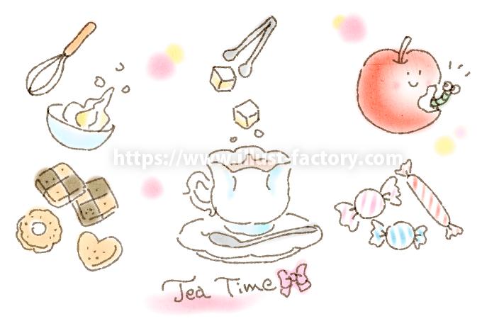 A224-02 ティータイム・お菓子・紅茶イラスト