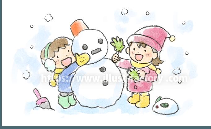 A239-01 子供水彩イラスト 冬・雪だるま