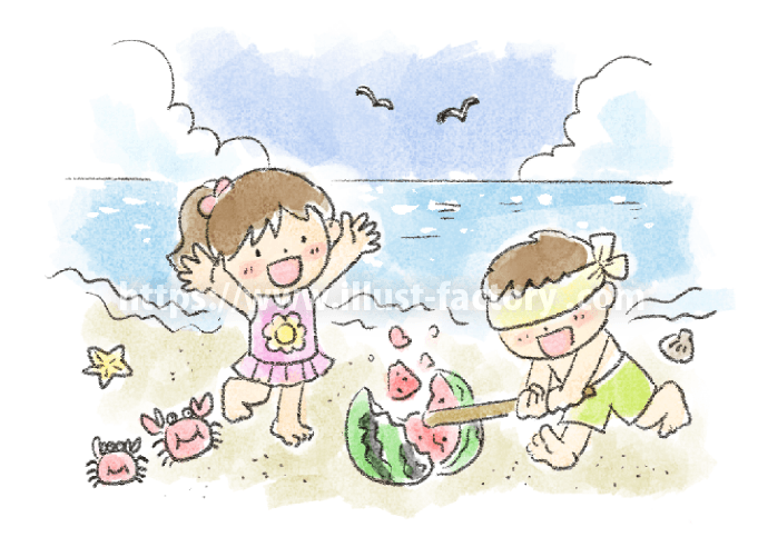 A239-02 子供水彩イラスト 夏・海でスイカ割り