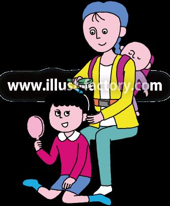 A240-09 ヘアメイクするお母さんと子供のイラスト