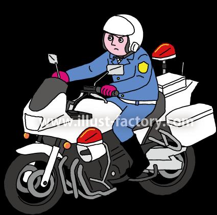 A240-10 白バイ・警察官のイラスト