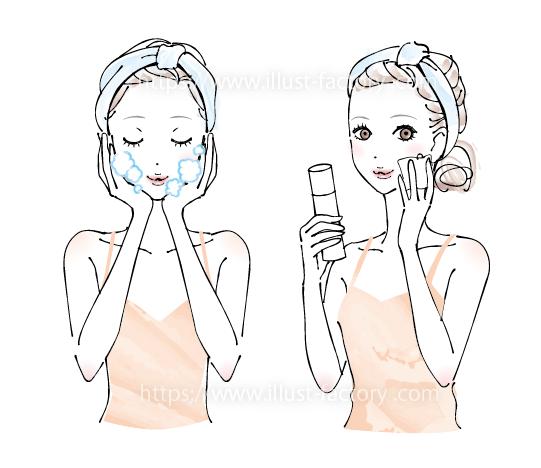A250-01 スキンケア オシャレなペン画 女性イラスト制作例