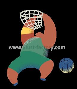 A253-01 バスケットボール・ダンクのイラスト