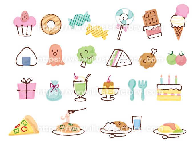 A255 かわいい食べ物イラスト チョコ・プリン・オムライス