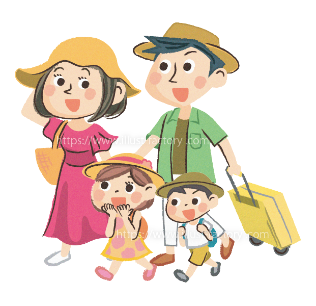 A260-01 手描き風 ポップな家族旅行イラスト