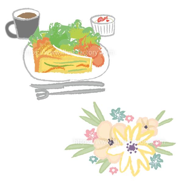 A264-01 クレヨン風料理と花束のイラスト