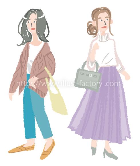 A264-02 クレヨン風ファッションイラスト 女性