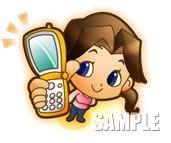 A29-07 携帯電話を持つ女の子イラスト制作例
