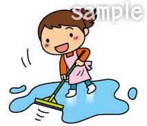 A41-02 女性が掃除をするイラスト
