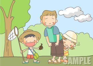 A51-02 お父さんと子供達のイラスト
