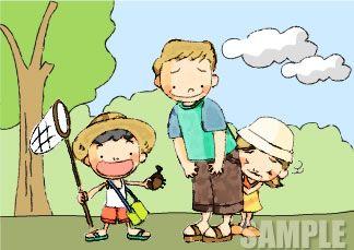 A51-06 お父さんと子供達のイラスト 手描き風タッチ