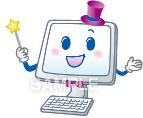 A52-01 パソコンのキャラクターイラスト