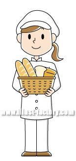 A68-02 パン屋 女性イラスト
