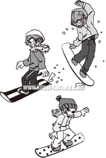 A71-05 スノボー スノーボードを楽しむ若い男女 モノクロ制作