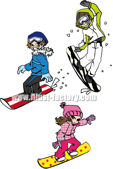A71-01 スノーボードを楽しむ若い男女イラスト制作例