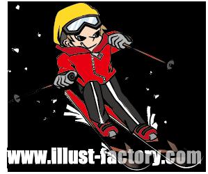 A71-02 スキーを楽しむ若い男性イラスト制作例
