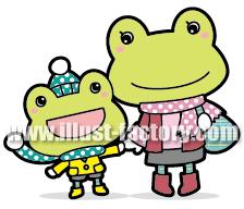 A99-5 カエルの親子ふれあいイラスト制作