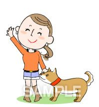 A50-13 犬と女性のイラスト