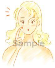 B05-01 色鉛筆風コスメイラスト制作例(吹き出物に気付く女性)