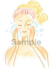 B05-02 色鉛筆風コスメイラスト制作例(泡洗顔する女性)