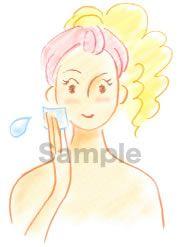 B05-04 色鉛筆風コスメイラスト制作例(コットンで化粧水を肌になじませる女性)