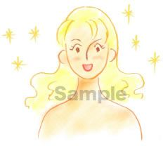 B05-06 色鉛筆風コスメイラスト制作例(美肌になった女性)