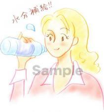 B05-07 色鉛筆風コスメイラスト制作例(水分補給する女性)