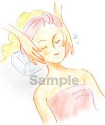 B05-08 色鉛筆風コスメイラスト制作例(フェイシャルエステ中の女性)