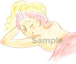 B05-09 色鉛筆風コスメイラスト制作例ボディエステ中の女性