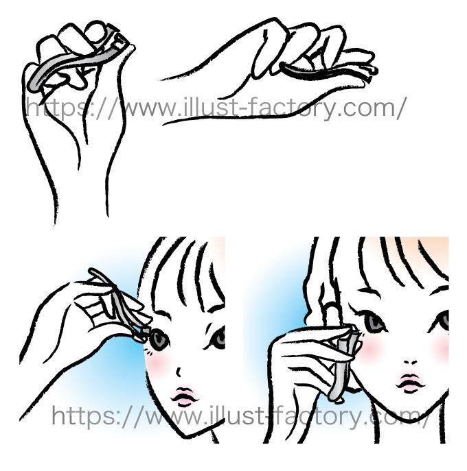 B08-12 筆タッチ美容シーン・カップルイラスト制作例(ビューラーをする女性)