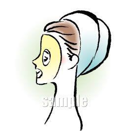 B08-06 筆タッチ美容シーン・カップルイラスト制作例(フェイスパックをする女性)