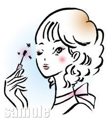 B08-10 筆タッチ美容シーン・カップルイラスト制作例(メイクする女性)