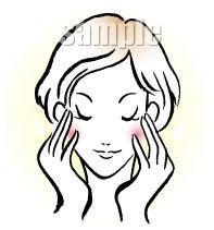 B08-11 筆タッチ美容シーン・カップルイラスト制作例(フェイスケアをする女性)