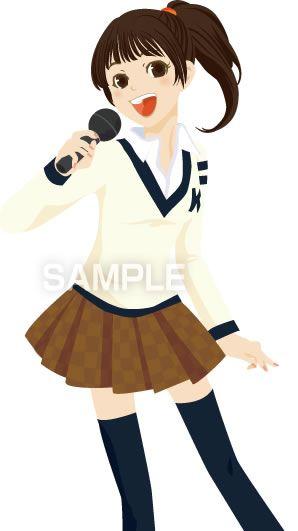 B11-17 カラオケを歌う女性イラスト