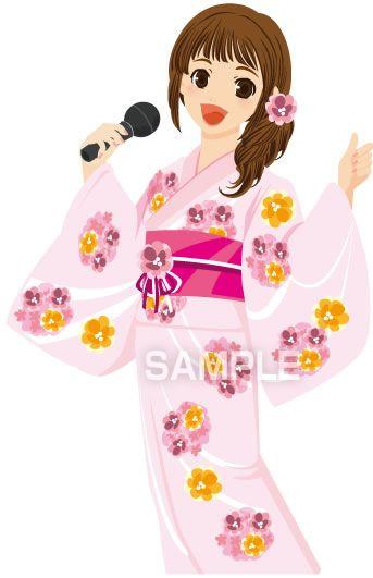 B11-18 和服でカラオケを歌う女性イラスト