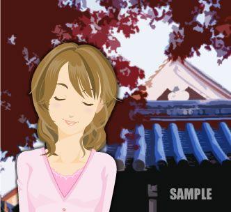 B11-06 女性のイラストと背景イメージ作成例