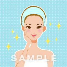 B12-21 洗顔する女性イラスト